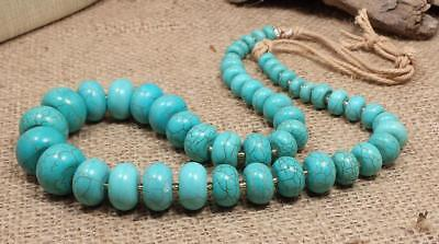 bold look Turquoise color howlite stone abacus bead necklace/( y411a-w3.5) Bold Turquoise Necklace