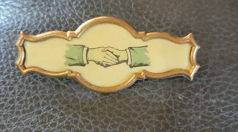 Whitehead & Hoag Co Antique Fraternal Handshake Pin or Brooch