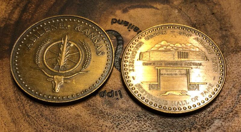 (2) VINTAGE ABILENE KANSAS SOUVENIR COINS