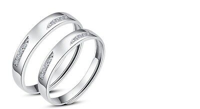 Couples White Gold Plated /Silver Feather Shape Adjustable Open Ring Solid Set Fashion Jewelry