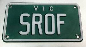 PERSONALISED CUSTOM VIC NUMBER PLATE FOR MOTORCYCLE - SROF Pearcedale Casey Area Preview