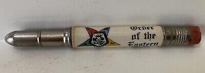 Vintage ORDER OF THE EASTERN STAR Advertising Pocket Bullet Pencil