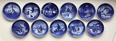 Lot of 11 Royal Copenhagen Blue Christmas Plates 1970 - 1980 EUC!