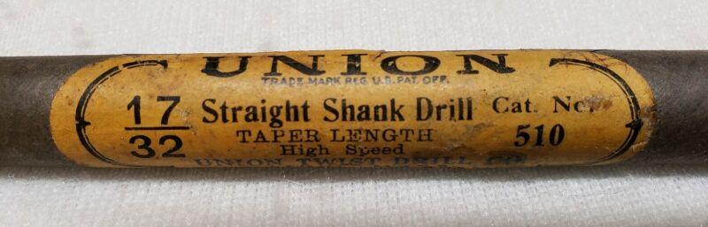 "Vintage Union Twist Drill Co. NEW Straight Shank Drill Bit 17/32 NOS! #510 8"""