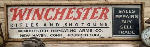 Rustic Vintage Style Winchester Ammo Wooden Sign 12x48 AWESOME DISPLAY !!