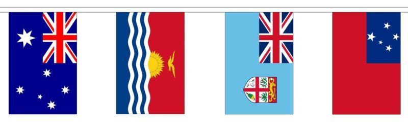OCEANIA BUNTING 6 metres 14 flags Polyester flag AUSTRALIA FIJI NEW ZEALAND
