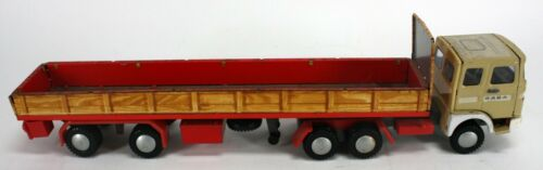 """VINTAGE RABA TIN TOYS TRACTOR TRAILER. MISSING CANOPY - 14"""""""