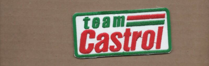NEW 1 7/8 X 3 7/8 INCH TEAM CASTROL MOTOR OIL IRON ON PATCH FREE SHIPPING