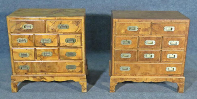 Companion Pair of Burled Walnut Campaign Style Bachelors Chests Nightstands