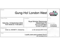 Two tickets for the Gung-Ho! inflatable obstacle course, Windsor,10th Sept, less than cost! £25 each