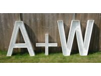 4ft LIGHT UP A + W or M LETTERS, INITIALS, WEDDING, PARTY, FOR SALE