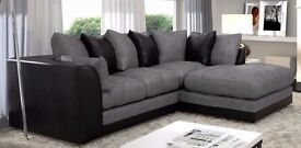 *** NEW BYRON *** CORNER SOFA BEIGE / BROWN PORTO JUMBO CORD LEATHER FOAM SEATS - SALE