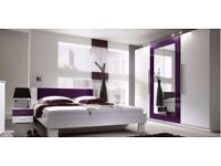 purple bedroom set ,include bed side table and mattress also wardrobe same colour new