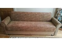 Fabric 4 Seater Brown Sofa Bed 230cm with Storage and Free Cushions
