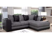 ❤ Top Quality ❤New Italian Extra Byron Jumbo Cord + Leather Sofa. Avlbl in Corner or 3 and 2 Seater
