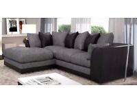 Cash On Delivery Jumbo cord Fabric*** Brand New Byron Cord + Leather Corner Sofa Or 3 +2 Seater Sofa