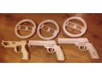 3x steering wheels & 3x guns for Wii