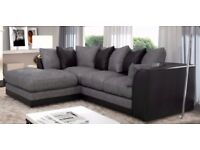 Stock Clearance! 70% Off! Brand New Extra Padded Dylan Byron Jumbo Cord+PU Corner OR 3+2 Seater Sofa