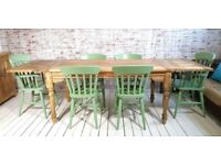 Kitchen Dining 5-8 FT Large Rustic Extending Table Set with Turned Legs & Painted Chairs