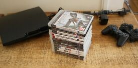 Sony Playstation 3 160gb Slim, 12 games, 2 Sony DualShock 3 Bluetooth Controller
