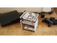 Sony Playstation 3 160gb Slim, 12 games, 2 Sony DualShock 3 Bluetooth Controller
