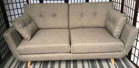 Dunelm Isabella grey 2-seater retro scandi sofa button back NEW
