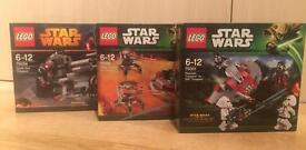 Set of 3 brand new sealed Lego Star Wars battle packs for sale. Discontinued
