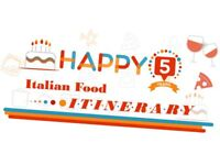 HAPPY 5 Years Party - Italian Food Itinerary