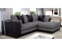 NEW FABRIC SOFA - BYRON CORNER SOFA BEIGE / BROWN PORTO JUMBO CORD LEATHER FOAM SEATS - SALE