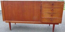 retro vintage 60`s 70`s teak sideboard with roller TAMBOUR DOOR