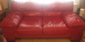 Red Leather Couch 2-3 Seater