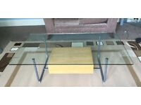 Glass Top Coffee Table with Very useful Drawer H16in/41cmW51in/130cmD29.5in/75cm