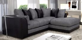 "DYLAN BYRON 3 SEATER & 2 SEATER SOFAS """" BROWN/BEIGE & BLACK/GREY AVAILABLE IN CORNER AS WELL"