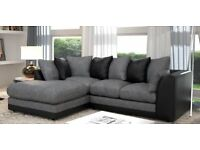 BRAND NEW JUMBO CORD CORNER 3 2 SEATER SOFA SUITE SETTEE IN FABRIC