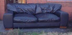 FREE - BROWN FAUX LEATHER 2 + 3 SEATER SOFAS