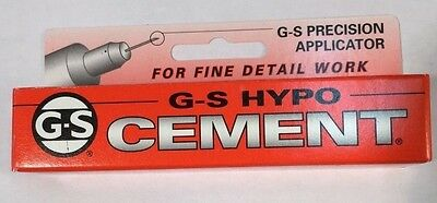 USA G-S HYPO CEMENT GLUE FOR WATCH CRYSTALS AND HOBBIES PRECISION APPLICATOR