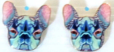 Colorful New Enameled French Bulldog Stud Post Earrings Pink (French Bulldog Ears)