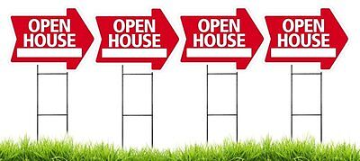 Large18x24 Open House - Red - Arrow Shaped Sign Kit With Stands - 4 Pack