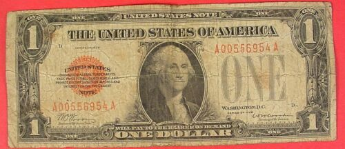Series of 1928 $1 Red Seal United States Note Dollar Bill US Currency Funny Back