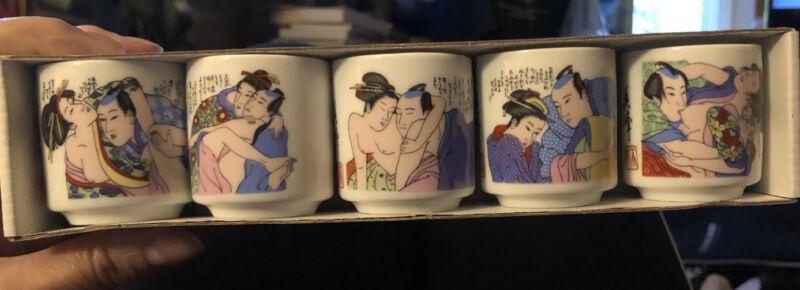 Vintage KamaSutra Erotic Sake Cups (5) Japan Nudity Porcelain, New In Box