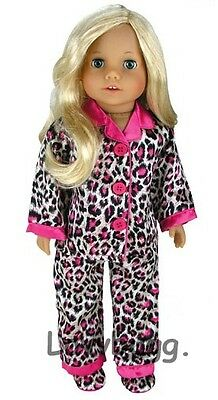 """Lovvbugg Leopard Pajamas n Slippers Clothes for 18"""" American Girl Doll Clothes"""