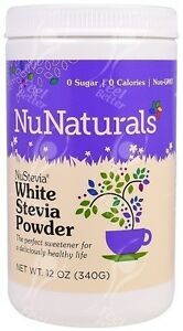 White Stevia Powder by NuNaturals, 340g;- CRAZYVALUE!!!
