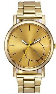 De Hombre Reloj Acero Inoxidable Lujo Diseño Analógico Cuarzo Oro Pulsera 52eccc32155e