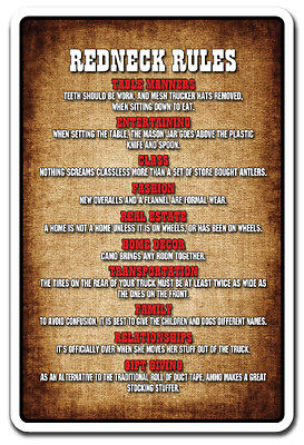 REDNECK RULES Novelty Sign gift country southern hillbilly funny gag humor