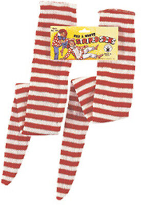 RED AND WHITE STRIPED SOCKS HALLOWEEN COSTUME ACCESSORY - Red And White Costumes