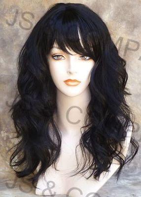 Human Hair Blend Long Off Black Wavy Heat Safe Wig W. Bangs 1b Wii