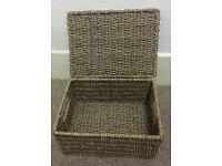 Large brown wicker baskets lids hamper gift xmas storeage display