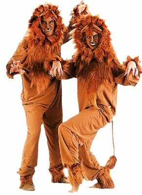 ADULT LION COSTUME KING OF JUNGLE LIONESS CUB ANIMAL JUMPSUIT COSTUMES BROWN