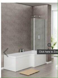 Brand new L shaped gloss white shower bath (Right Hand)