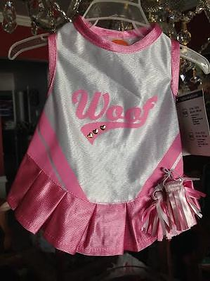 Pug Puppy Halloween Costumes (Puppy Dog Woof Cheerleader with Pom Poms Halloween Costume Brand New With)